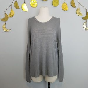Helmut Lang Gray Ribbed Soft Sweater Sz Small